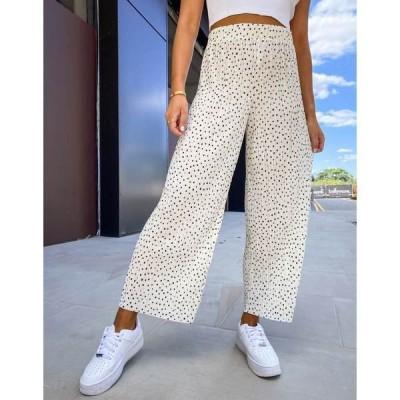 モンキ レディース カジュアルパンツ ボトムス Monki Severina recycled printed pants in white White