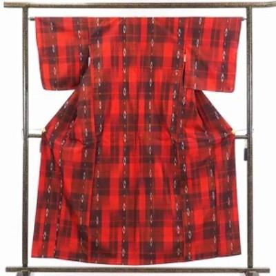 【中古】リサイクル着物 紬 / 正絹赤地袷紬着物未使用品 / レディース【裄Mサイズ】