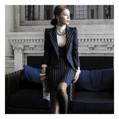 レディース セットアップ スカート ジャケット スカートスーツ ストライプ フォーマル 2点 ビジネス 秋服 30代 40代