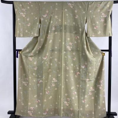 小紋 美品 秀品 椿 枝梅 薄緑 袷 163.5cm 66.5cm M 正絹 中古