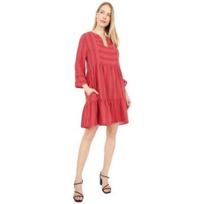 モドオードック レディース ドレス  Stripe Gauze Mandarin Collar Dress with Ruffle Hem