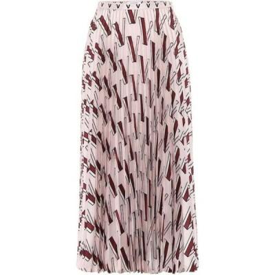 ヴァレンティノ Valentino レディース ひざ丈スカート スカート Printed pleated silk midi skirt Poudre
