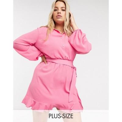 アウトレイジャスフォーチュン ドレス 大きいサイズ レディース Outrageous Fortune Plus shirt dress with frilly hem in pink エイソス ASOS ピンク