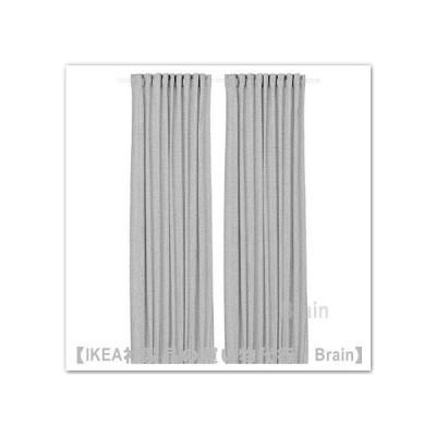 IKEA/イケア ORDENSFLY カーテン1組145x250 cm ホワイト/ダークグレー