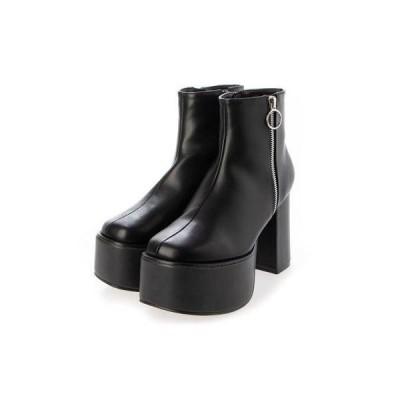 マフモフ Mafmof Mafmof(マフモフ) リングジップストーム付き 厚底ブーツ (ブラック・PU)