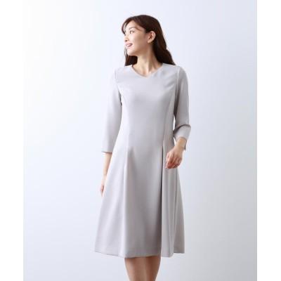 (AMACA/アマカ)【Sサイズ~】トリアセテートストレッチ ドレス/レディース ライトグレー