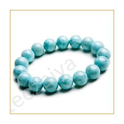 12mm Natural Blue Larimar Gemstone Bracelet for Women Men Crystal Round Beads Stretch AAAAA【並行輸入品】