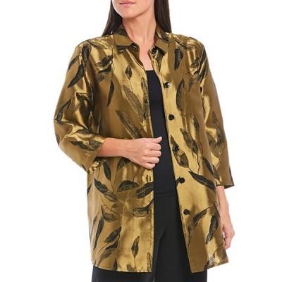キャロライン ローズ レディース ジャケット・ブルゾン アウター 3/4 Sleeve Shirt Collar Black & Gold Leaf Button Front Shirt Jacket