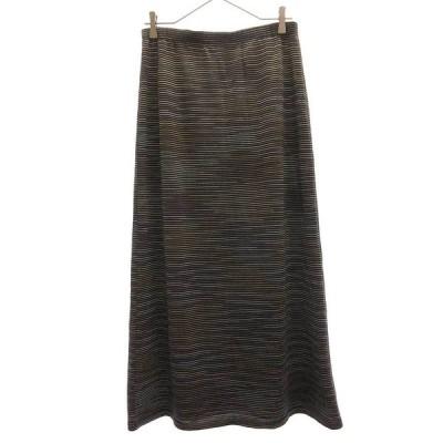 MISSONI (ミッソーニ) レーヨン混ウールボーダーニットスカート ネイビー