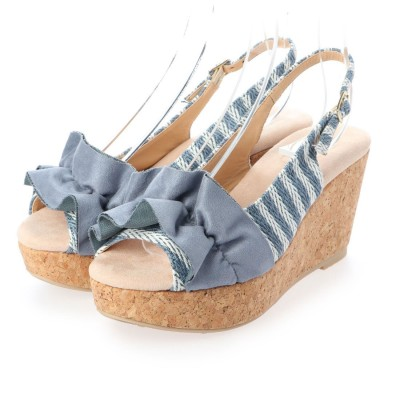シューズラウンジ shoes lounge ウェッジソール サンダル 80BD40324BLUWHT (ブルー)