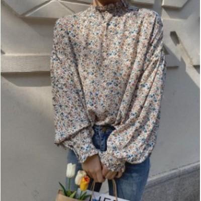 韓国 ファッション レディース ブラウス トップス 花柄 ハイネック ボリューム袖 長袖 ゆったり レトロ 大人可愛い カジュアル