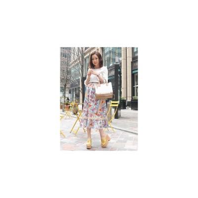MIIA オリジナルスカーフ柄マキシスカート オレンジ