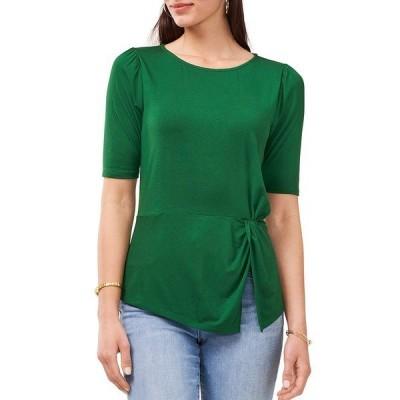 ヴィンスカムート レディース シャツ トップス Elbow Sleeve Side Twist Knit Top Marine Green