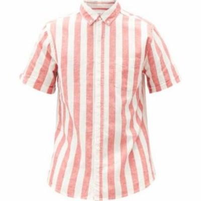オニア Onia メンズ 半袖シャツ トップス Jack striped linen-blend poplin shirt Red
