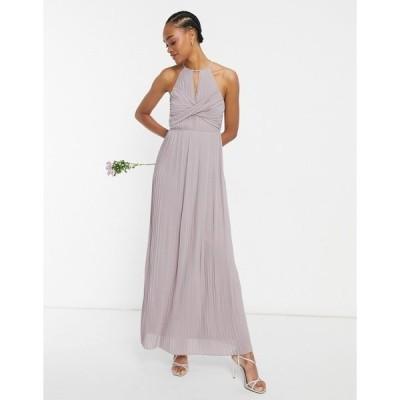 ティエフエヌシー レディース ワンピース トップス TFNC Plus bridesmaid pleated wrap detail maxi dress in gray Grey