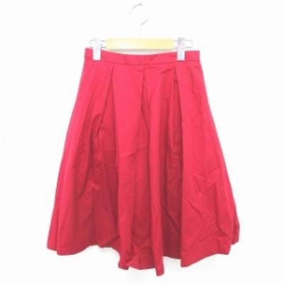 【中古】アーバンリサーチ スカート フレア 膝下丈 無地 シンプル サイドジップ 綿 コットン ONE 赤 レッド /TT27