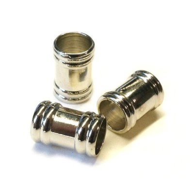 真鍮ビーズ ツヤ バレル 筒 シルバー 4.3gのグラム販売(10個入り) スタイリッシュ アクセサリーパーツ パーツ
