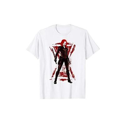 並行輸入品Marvel Black Widow Painted Logo Portrait T-Shirt【お取り寄せ】