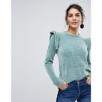 ワイ エー エス Y.A.S レディース ニット・セーター トップス Ruffle Shoulder Knit