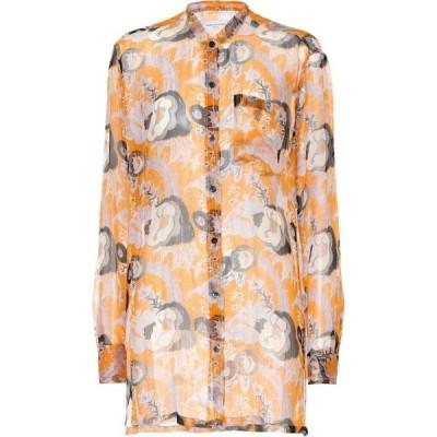 ドリス ヴァン ノッテン Dries Van Noten レディース ブラウス・シャツ トップス printed silk shirt Orange