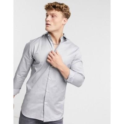 セレクテッドオム メンズ シャツ トップス Selected Homme Pelle slim fit white shirt Grey