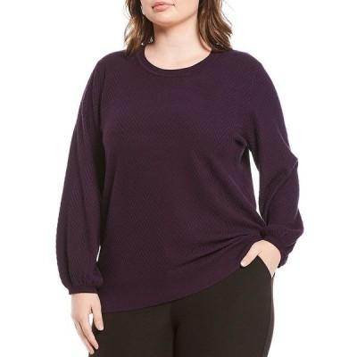 インベストメンツ レディース ニット&セーター アウター Plus Size Long Sleeve Chevron Sweater Blackberry