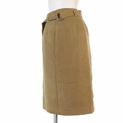 【中古】ユナイテッドアローズ UNITED ARROWS スカート 膝丈 フェイク スエード ベージュ 36 ボトムス レディース
