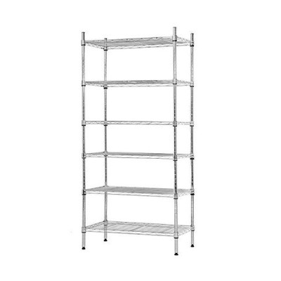 NSF Wire Shelf Organizer 6 Wire Shelving Unit Metal Storage Shelves, Utility Commercial Grade Heavy Duty Height Adjustable Leveling Feet Ste