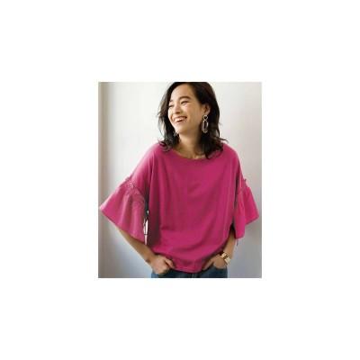 Ranan 袖異素材切替デザインTシャツ(ピンク)