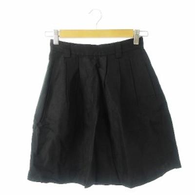 【中古】マカフィー MACPHEE トゥモローランド スカート フレア ミニ タック 絹 シルク 麻混 34 黒 ブラック /AH6