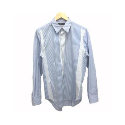 【中古】ジョンブル JOHNBULL Makerhood メーカーフッド ワイシャツ ドレス レギュラーカラー ストライプ M 青 ブルー 白 ホワイト  メンズ 【ベクトル 古着】