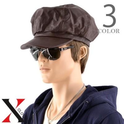 フェイクレザー PU キャスケット メンズ 帽子 ハット HAT シンプル つば付き カジュアル 秋 冬 秋冬