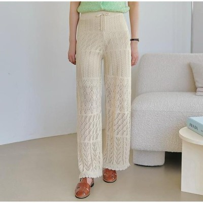 common unique レディース パンツ Perforated Knit Pants