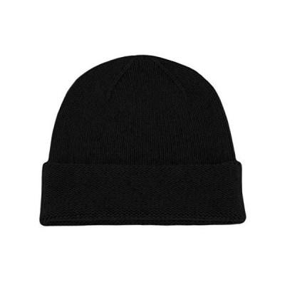 メンズ100?%カシミアニット帽???ブラック???Hand Made In Scotland by LoveカシミアRRP $ 120【並行輸入品】