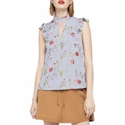 BCBG ジェネレーション レディース トップス シャツ Embroidered Floral High Neck Sleeveless Top