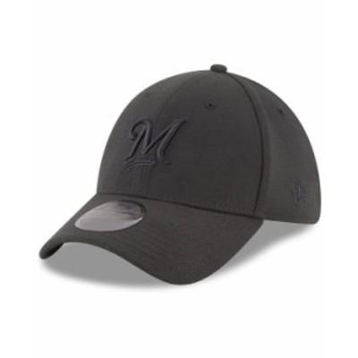 ニューエラ メンズ 帽子 アクセサリー Milwaukee Brewers Blackout 39THIRTY Cap Black
