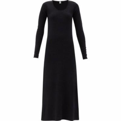 トーテム Toteme レディース ワンピース ミドル丈 ワンピース・ドレス Molveno round-neck silk-blend midi dress Black