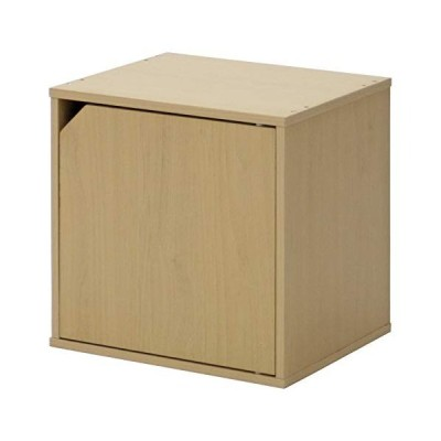 不二貿易 キューブボックス 扉付き 幅34.5cm ナチュラル 組み合わせ自由 81905