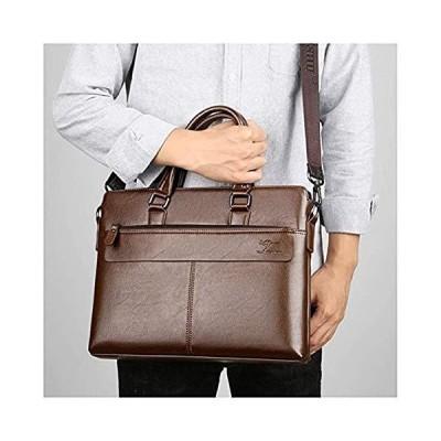 GHJL Leather Briefcases for Men Business Shoulder Bag, 14 Inch Laptop Bag Tote Travel Bag (Color : A)【並行輸入品】