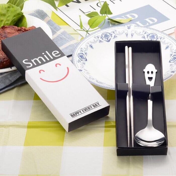 兩件套不鏽鋼餐具(一組三盒)婚禮小物 餐具組 不鏽鋼餐具 筷子 湯匙 環保餐具 禮品葉子小舖