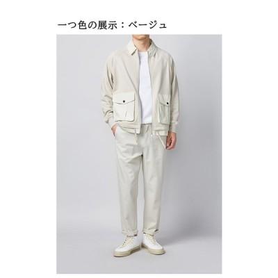 ファッション的な紳士服 春物の工装風ジャケット 落肩袖 偽りの2つ男性コート 折り襟長袖 金属の四合ボタン 富む組み合わせ ベージュ M-2XL