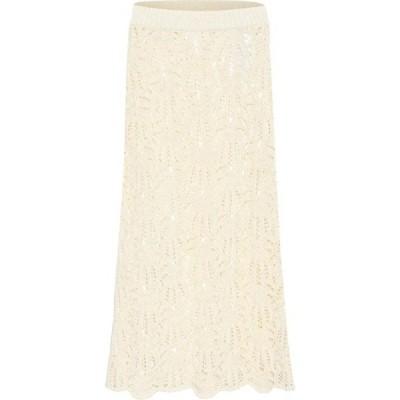 ジル サンダー Jil Sander レディース ひざ丈スカート スカート Crochet lace midi skirt Natural