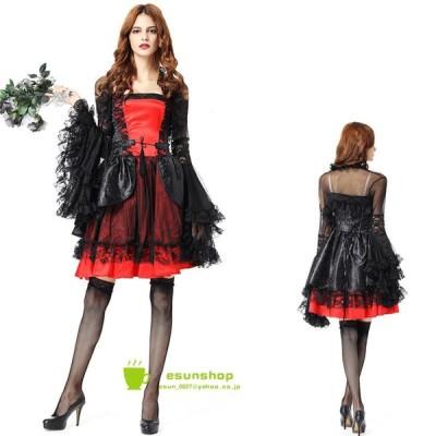ハロウィン halloween コスプレ 仮装 衣装 大人 吸血鬼 コヴァンパイア スチューム ハロウィンパーティー クリスマス バンパイア 魔女 ワンピース ドレス