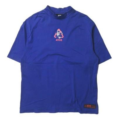 エイティブ ATIVE EARTH LOGO SS TEE アースロゴショートスリーブTシャツ フリー ブルー 半袖 ハイネック トップス