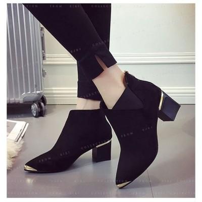 ブーツレディース靴シューズブーティースエード秋冬用履きやすい太いヒール歩きやすい痛くない疲れない