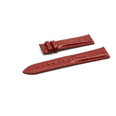 腕時計 Dバックル 用 ベルト 16mm 17mm 18mm 19mm 20mm 21mm 22mm 24mm レザー クロコダイル型押し 牛 革 赤 l001re-t0