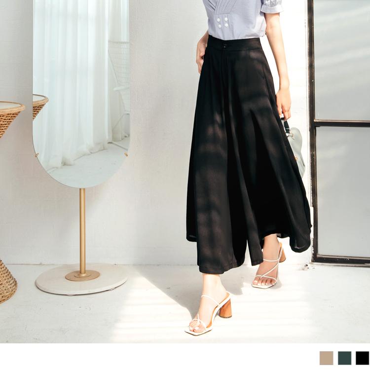 純色垂墜感不易皺寬襬雪紡褲裙
