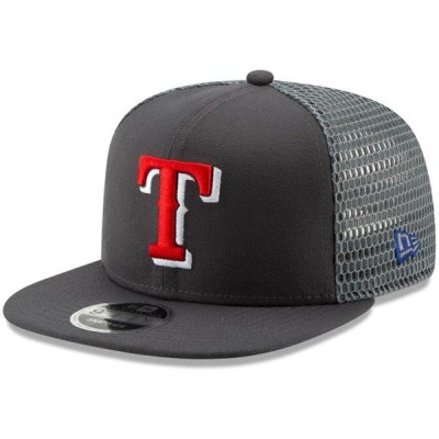 ユニセックス スポーツリーグ メジャーリーグ Texas Rangers New Era Mesh Fresh 9FIFTY Adjustable Snapback Hat - Graphite - OSFA
