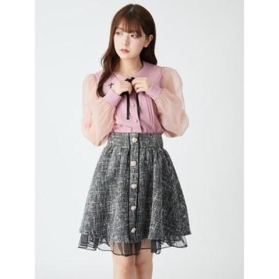 スカート ツイードギャザースカート