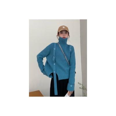 【送料無料】秋冬 年 韓国風 デザイン 感 スプリット タートルネック ニット 女 | 346770_A64237-1500051